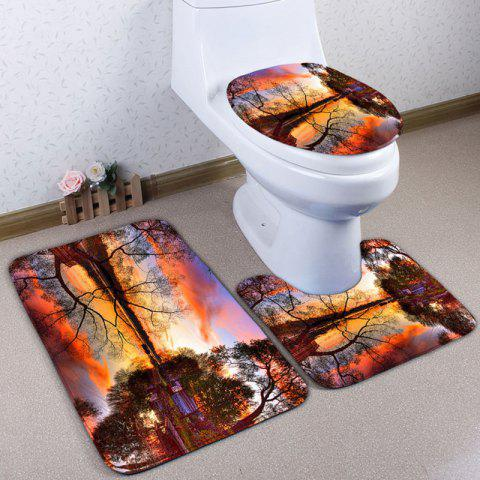 Shop Landscape Print Flannel 3Pcs Bath Toilet Mats Set - COLORMIX  Mobile
