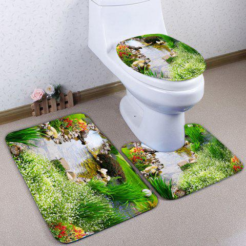 Online 3PCS Natural Scenery Flannel Bathroom Toilet Rugs Set GREEN