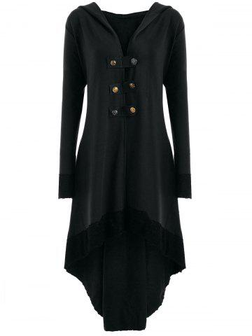 Hot High Low Hooded Plus Size Lace-up Coat BLACK XL