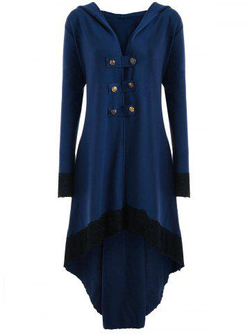 Store High Low Hooded Plus Size Lace-up Coat - 5XL BLUE Mobile