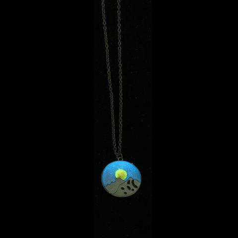 Cheap Glow in the Dark Snow Mountain Sun Necklace