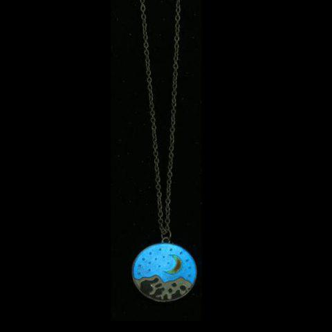 Snow Mountain Star Moon Glow in the Dark Collier Argent