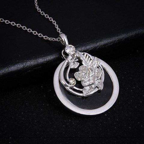 Trendy Rhinestone Engraved Rose Flower Pendant Necklace SILVER