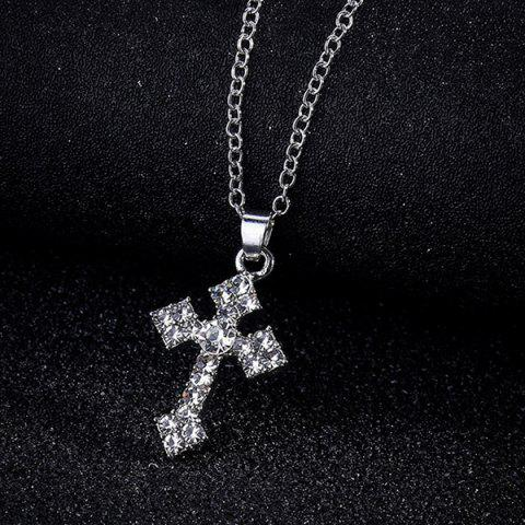 Best Tiny Rhinestone Crucifix Charm Necklace SILVER
