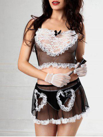 New Lace Fishnet Skirted Maid Costume