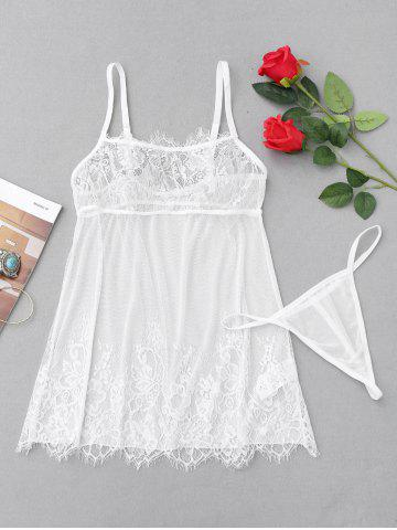 Sale Eyelash Lace Sheer Slip Babydoll WHITE S