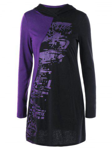 Trendy Halloween Two Tone Slim Tunic Hoodie - L BLACK AND PURPLE Mobile