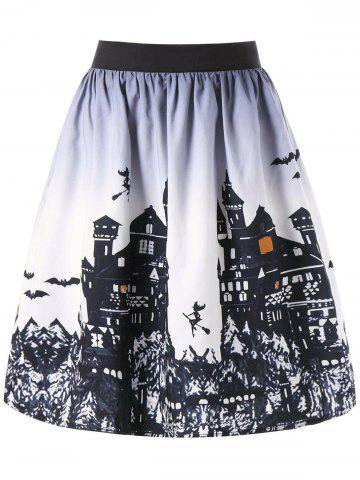 Sale Halloween Castle Pattern Ombre Swing Skirt WHITE AND BLACK 2XL