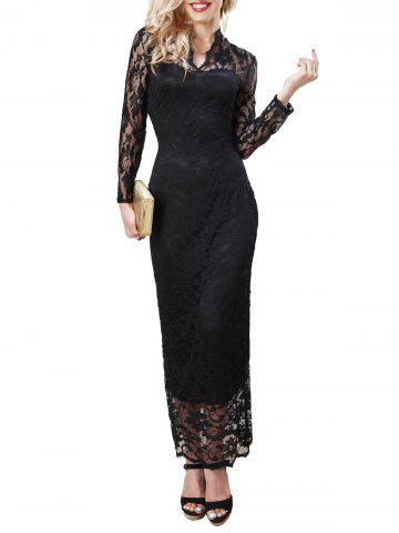 Maxi Lace Long Sleeve Bodycon Dress