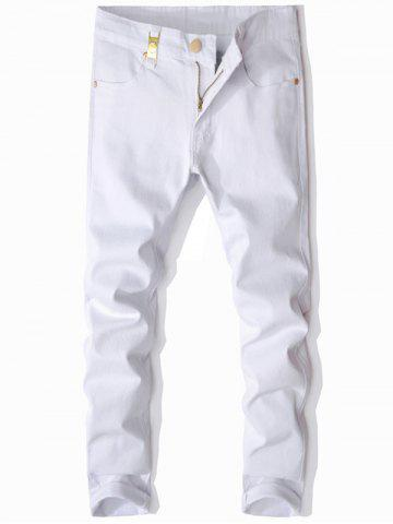 Cheap Metal Embellished Zip Fly Slim Fit Jeans - 30 WHITE Mobile