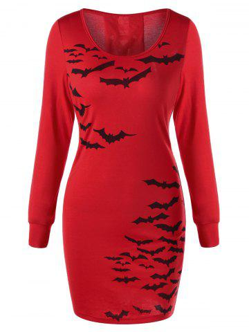 Best Halloween Bat Print Lace Up Sheath Dress