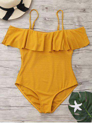Sale One Piece Ribbed Knit Flounce Swimsuit GINGER M