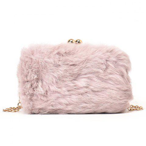 New Chain Faux Fur Crossbody Bag PINK