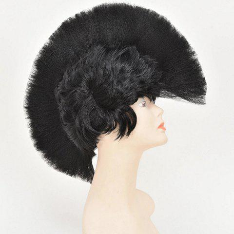 Trendy Halloween Christmas Carnival Decoration Synthetic Mohawk Party Wig - BLACK  Mobile