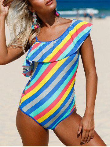 Latest Striped Ruffle Lace Up Swimsuit COLORMIX M