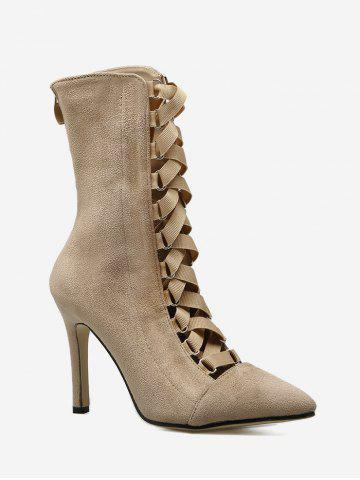 Sale Cross Strap Pointed Toe Stiletto Mid Calf Boots APRICOT 39