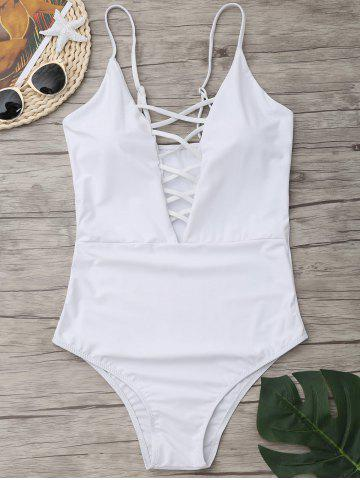 Shop Cross Back One Piece Swimsuit - WHITE M Mobile