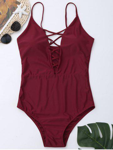 Discount Cross Back One Piece Swimsuit WINE RED M
