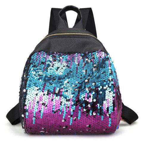 Fancy Faux Leather Sequins Backpack BLUE