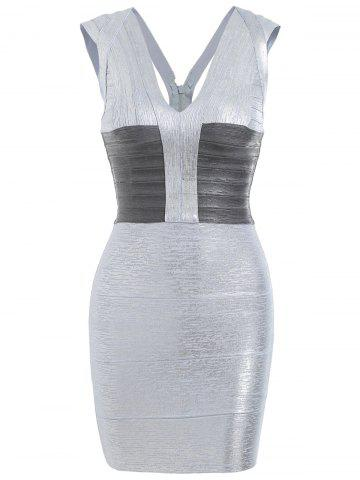Store Sleeveless V Neck Metallic Bandage Dress SILVER M