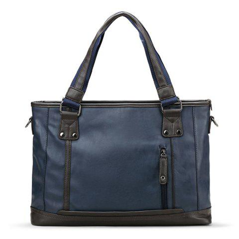 Best PU Leather Stitching Handbag - BLUE  Mobile