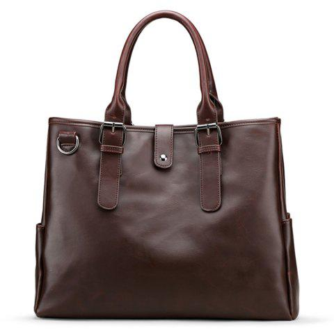 Faux Leather Buckle Strap Metal Ring Briefcase Brun
