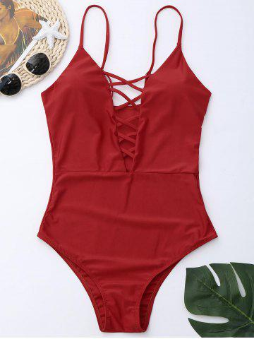 Online Cross Back One Piece Swimsuit - RED M Mobile