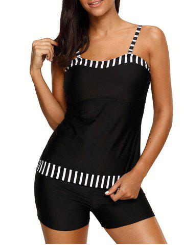 Chic Push Up Striped Tankini Set - XL BLACK Mobile