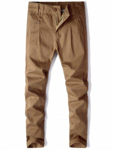 Straight Leg Zip Fly Casual Chino Pants