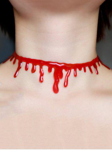 Collier Choker Sanguin Plastique Halloween Rouge