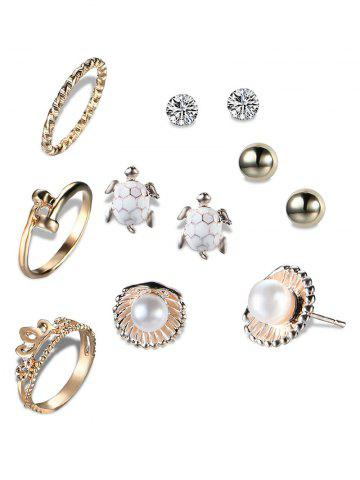 Fancy Faux Pearl Tortoise Shell Earring and Ring Set - GOLDEN  Mobile
