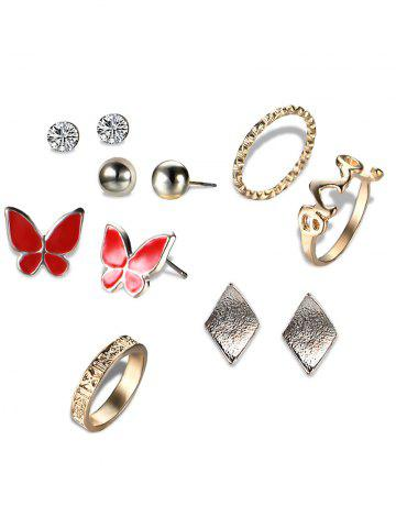 Fancy Rhinestone Butterfly Earring with Love Ring Set - GOLDEN  Mobile