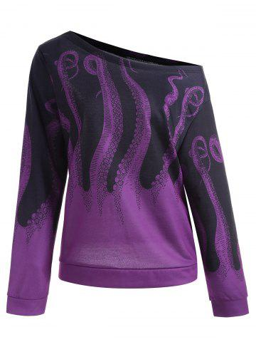 Outfits Octopus Printed Plus Size Sweatshirt - 3XL PURPLE Mobile
