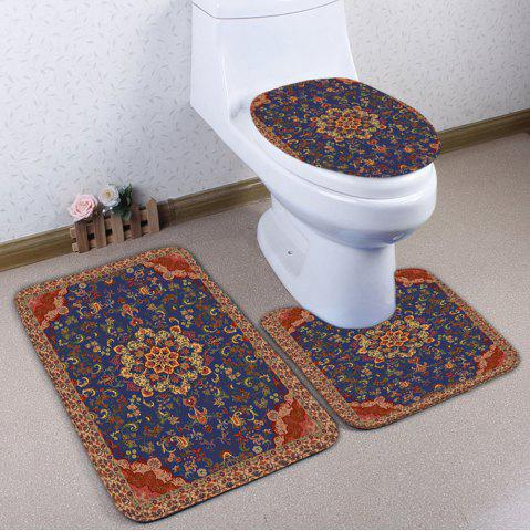 Online 3Pcs Ethnic Flower Print Bath Rugs Set BROWN