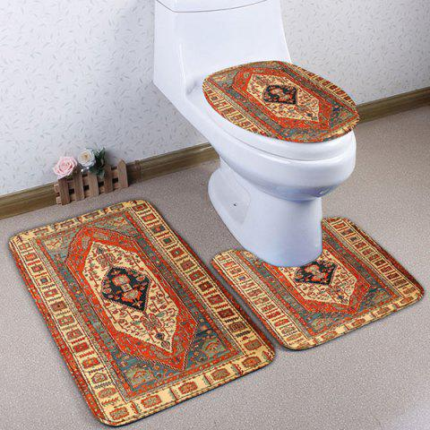 3Pcs Flannel Geometric Ethnic imprimé Tapis de toilette Set