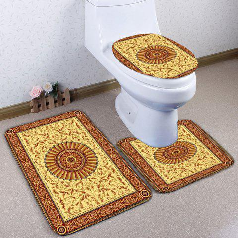 Outfits 3Pcs Ethnic Printed Flannel Bath Toilet Rugs Set YELLOW