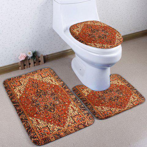 Cheap Ethnic Geometric 3Pcs Flannel Bath Toilet Mats Set ORANGE