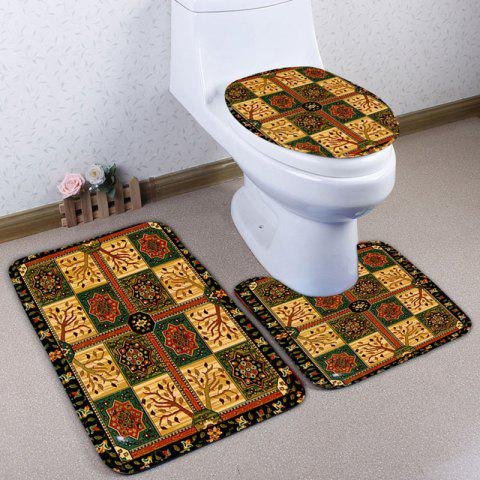Best 3PCS Ethnic Geometric Printed Bath Toilet Rugs Set CHECKED