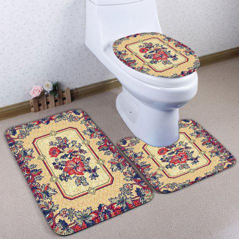 Sale Flower Print Flannel 3PCS Ethnic Bath Toilet Rugs Set - YELLOW  Mobile