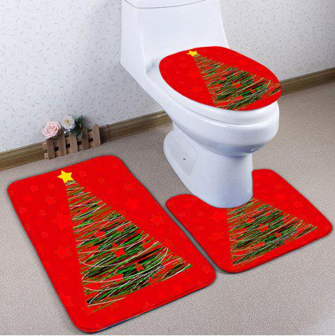 Cheap 3PCS Christmas Tree Print Bath Toilet Mats Set RED