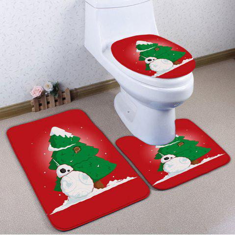 Store 3PCS Christmas Tree Snowman Bath Rugs Set RED