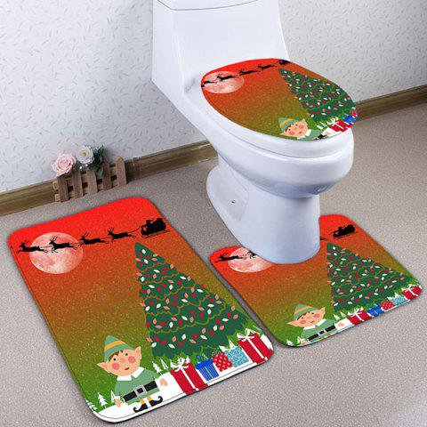 Ensemble de nattes de bain de flanelle graphique 3PCS Christmas Graphic