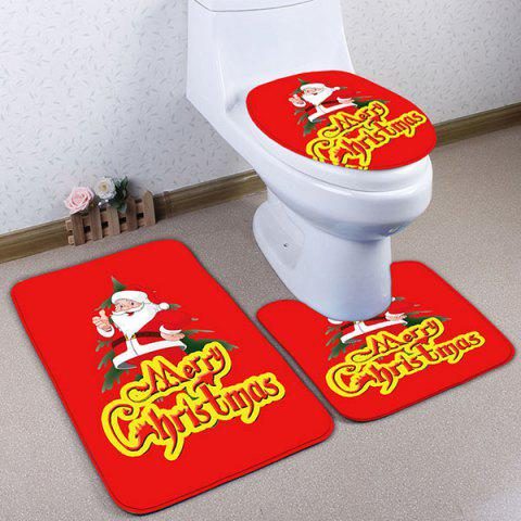 Merry Christmas 3PCS Ensemble de mousses de toilette Santa Claus Rouge