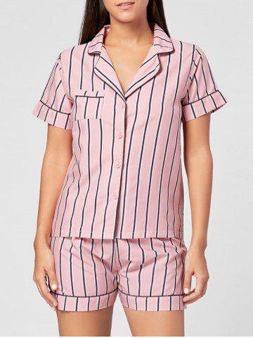 Store Striped Shirt Pajama Set - ONE SIZE LIGHT PINK Mobile