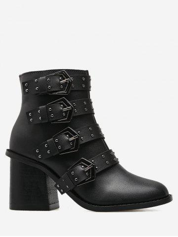 Hot Studded Block Heel Ankle Boots BLACK 37