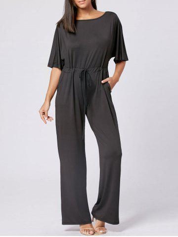 Cheap Drawstring Wide Leg Maxi Jumpsuit BLACK 2XL