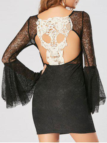 Cut Out Skull Lace Bodycon Mini-robe Noir M