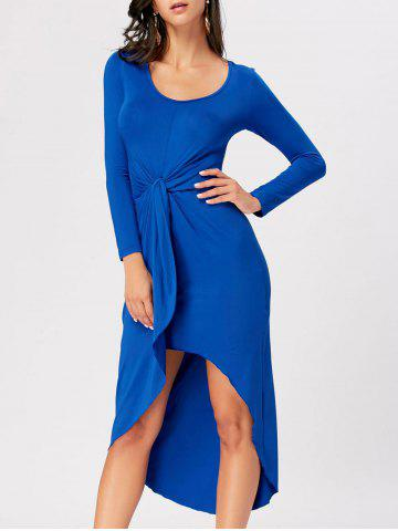 Outfit Front Knot High Low Bodycon Midi Dress ROYAL M