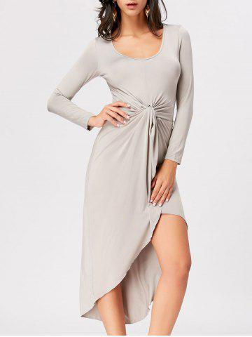 Fancy Front Knot High Low Bodycon Midi Dress - 2XL GRAY Mobile