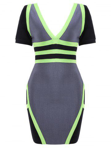 Outfit Plunging Neck Color Block Bandage Dress GRAY S